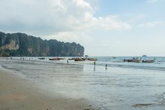 People relax and walking at Ao Nang beach before the sunset Royalty Free Stock Photo