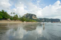 People relax and walking at Ao Nang beach before the sunset Royalty Free Stock Photos