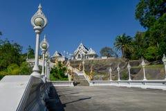 KRABI, THAILAND - FEBRUARY 19, 2018: Naga staircase at Wat Kaew Korawararam public white temple, church in THAILAND. KRABI, THAILAND - FEBRUARY 19, 2018: Naga royalty free stock images