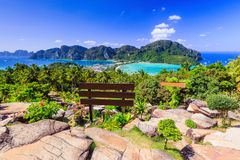Krabi, Thailand. Phi Phi Don, panormic view of the islands stock photography