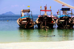 Krabi, Thailand. Long tail boats waiting for tourist Royalty Free Stock Images
