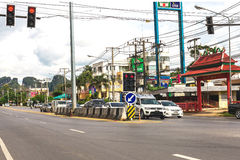 Krabi, Thailand. Streets of the suburb, cars and buildings. Royalty Free Stock Image