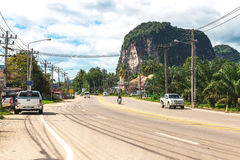 Krabi, Thailand. Streets of the suburb, cars and buildings. Stock Photos