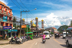Krabi, Thailand. Streets of the suburb, cars and buildings. Krabi Town, Thailand - December 16, 2016: Streets of the suburb, cars and buildings Stock Photo