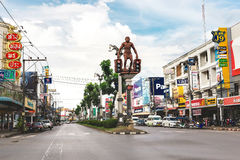 Krabi, Thailand. Streets of the suburb, cars and buildings. Stock Images