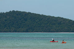 KRABI, THAILAND - 2 Traveler kayaking in the sea on Apr 15, 2014 in Krabi, Thailand Stock Photos