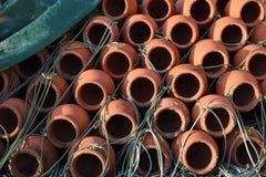 Krabpotten stock foto's