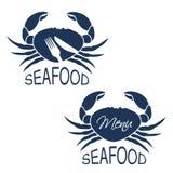 Krabsilhouet met symbool van menu en symbool van mes, vork Zeevruchtensymbolen op witte achtergrond voor produktontwerp of menu o Stock Afbeelding