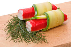 Krabstokken met komkommer Stock Fotografie