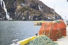 Krabvallen op een werf in landelijk Newfoundland Royalty-vrije Stock Afbeelding