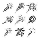 Kracher festlich und Grußsatz Sketchikonen Lokalisiertes VE lizenzfreie abbildung