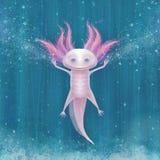 Krachtige en grappige axolotl in water Stock Foto