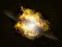 Krachtige explosieontploffing op donkere achtergrond Royalty-vrije Stock Fotografie