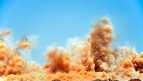 Krachtige ontploffing op de bouwwerf royalty-vrije stock afbeelding