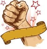Krachtige vuist en banner vectorillustratie Royalty-vrije Stock Foto