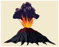 Krachtige vulkanische uitbarsting royalty-vrije illustratie