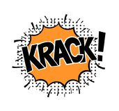Pop art style sticker. Krack, word in speech bubble patch badge. Comic book style vector sticker, pin, patch in cartoon 80s-90s comic style Royalty Free Stock Photo