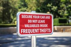 Kradzieżowy znak ostrzegawczy Fotografia Stock