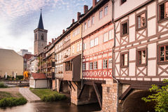 Kraemberbruecke and Roter Turm in Erfurt Stock Images