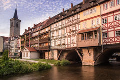 Kraemberbruecke and Roter Turm in Erfurt Royalty Free Stock Photos