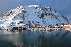 Kraemmervika in Lofoten. The old fishing harbour of Kraemmervika in Lofoten islands stock images
