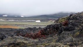 Krafla colours black hot lava field Leirhnjúkur. Black and red coloured hot lava on the Leirhnjukur field of the Krafla volcano in Iceland royalty free stock photography