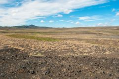 Krafla is een vulkanisch systeem met een diameter van ongeveer 20 die kilometers in het gebied van MÃ ½ worden gesitueerd vatn, h stock fotografie