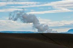 Krafla is een vulkanisch systeem met een diameter van ongeveer 20 die kilometers in het gebied van MÃ ½ worden gesitueerd vatn, h stock foto's