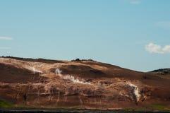 Krafla is een vulkanisch systeem met een diameter van ongeveer 20 die kilometers in het gebied van MÃ ½ worden gesitueerd vatn, h stock afbeeldingen