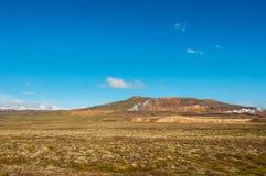 Krafla is een vulkanisch systeem met een diameter van ongeveer 20 die kilometers in het gebied van MÃ ½ worden gesitueerd vatn, h stock afbeelding