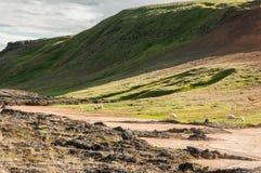 Krafla is een vulkanisch systeem met een diameter van ongeveer 20 die kilometers in het gebied van MÃ ½ worden gesitueerd vatn, h royalty-vrije stock foto's