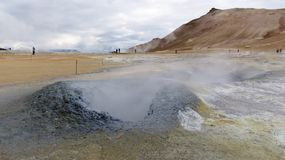 Krafla Fumarole. A steaming fumarole on the  geo-thermal heated Krafla Landscape in Iceland Royalty Free Stock Photos