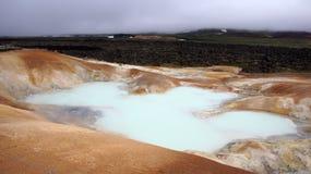 Krafla geothermal pool at Leirhnjúkur lava field. Geothermal pool at Leirhnjukur lava field in the Krafla volcano area in Iceland stock image