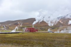 Krafla Geothermal Power station in North Iceland stock images