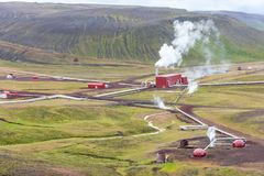 Krafla Geothermal Power station in North Iceland stock photo