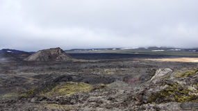 Krafla hot lava field and Leirhnjúkur mountain. Panorama of the steaming hot lava field and the Leirhnjukur mountain of the Krafla volcano in Iceland stock images