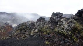 Krafla hot lava field Leirhnjúkur. Steaming hot lava on the Leirhnjukur field of the Krafla volcano in Iceland stock images