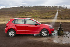 Krafla, Iceland, November 30th 2014, Funny Car wash in Icelandic stock image