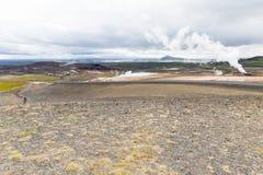 Krafla område startar nästan ½vatn för sjön MÃ Arkivfoton
