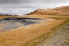 Krafla område startar nästan ½vatn för sjön MÃ Royaltyfri Fotografi