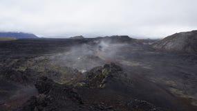 Krafla steaming hot lava field Leirhnjúkur. Steaming hot lava on the Leirhnjukur field of the Krafla volcano in Iceland stock photography