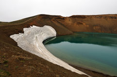 Krafla Volcano Crater Lake on Iceland Royalty Free Stock Images