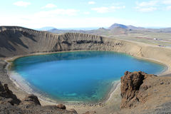 Krafla vulkansjö, Island. Royaltyfri Fotografi