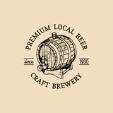 Kraft beer barrel logo. Old brewery icon. Hand sketched keg illustration. Vector vintage lager, ale label or badge. Stock Photography