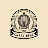Kraft beer barrel logo. Old brewery icon. Hand sketched keg illustration. Vector vintage lager, ale label or badge. Stock Image