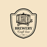 Kraft beer barrel logo. Old brewery icon. Hand sketched keg illustration. Vector vintage lager, ale label or badge. Stock Photo