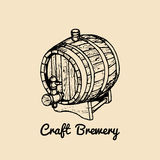 Kraft beer barrel logo. Old brewery icon, retro sign. Hand sketched keg illustration. Vector lager, ale label or badge. Kraft beer barrel logo. Old brewery icon Stock Images
