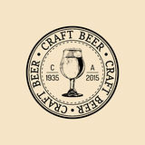 Kraft beer glass logo. Old brewery icon. Lager cup retro sign. Hand sketched ale illustration. Vector vintage label. Royalty Free Stock Photos