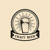 Kraft beer glass logo. Old brewery icon. Lager cup retro sign. Hand sketched ale illustration. Vector vintage label etc. Kraft beer glass logo. Old brewery icon royalty free illustration