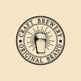 Kraft beer glass logo. Old brewery icon. Lager cup retro sign. Sketched ale illustration. Vector vintage label,badge. Stock Photography